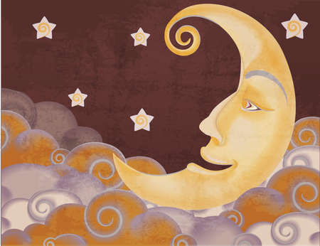 old moon: Retro style half moon, clouds and stars illustration