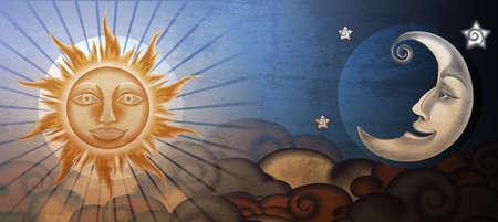 Grunge sun and moon in front of clouds. Fresco imitation. Ilustração