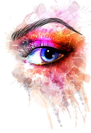 eye drops: Eye made of colorful splashes