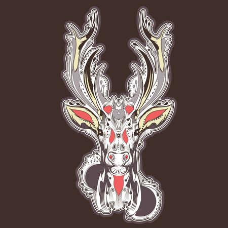 Deer head tattoo design Vector