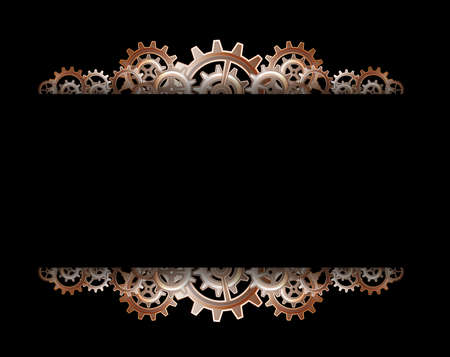 metallic border: Steampunk gears frame