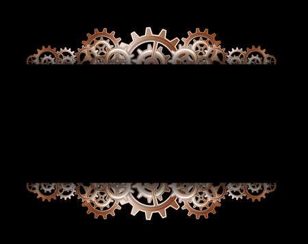 Steampunk Zahnräder Rahmen Standard-Bild - 24012674