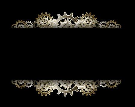 Steampunk Zahnräder Rahmen Standard-Bild - 24012680