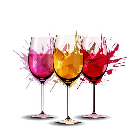 Trzy kieliszki do wina z odpryskami Ilustracje wektorowe