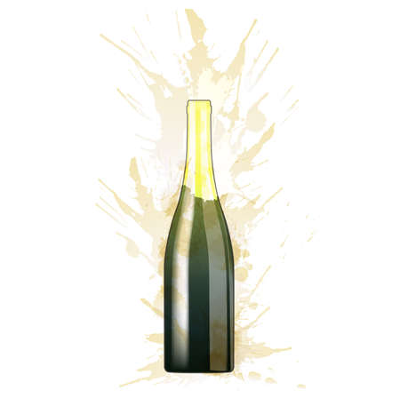 Bottle of sparcling wine made of colorful splashes on white background Stock Vector - 24623538