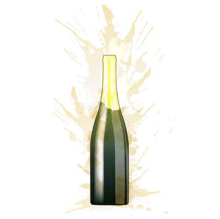 Fles Sparcling-wijn gemaakt van kleurrijke spatten op een witte achtergrond