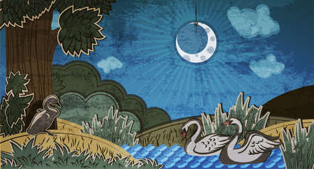 Ugly duckling looking at pair of swans. Illustration to fairy tale Ugly Duckling (Hans Christian Andersen).  Ilustração