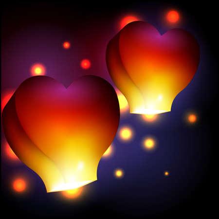 sky lantern: En forme de coeur ciel lanterne