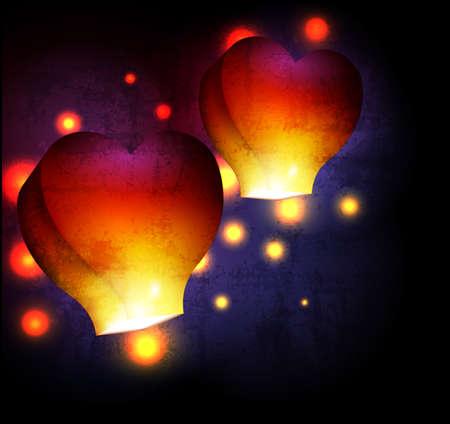 sky lantern: Heart shaped sky lantern Illustration