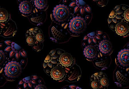 flower tattoo design: Sugar skull seamless pattern