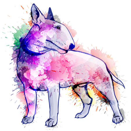 Bull terrier grunge illustration Illustration