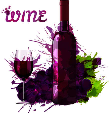 wine making: Wine bottle glass and grapes decorated with grange splashes Illustration
