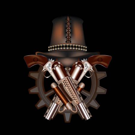 futuristic pistol: Two steampunk revolvers and hat