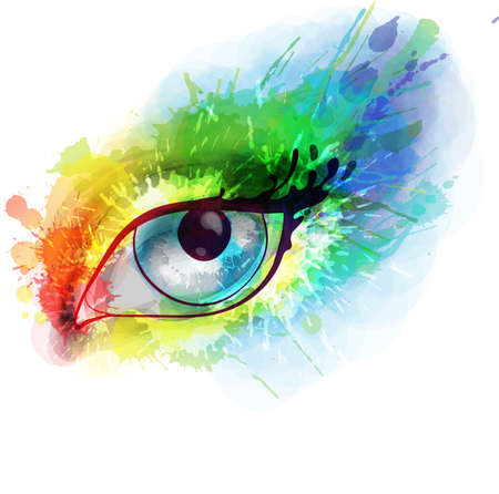 ink stain: Woman eye made colorful splashes Illustration