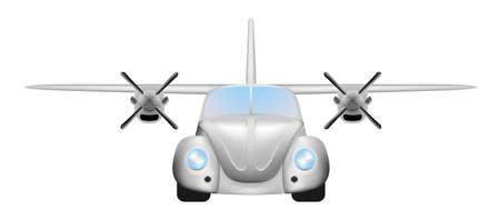 Retro flying car Vector