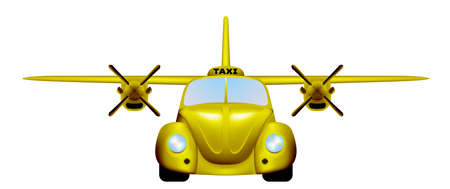 Taxi. Retro flying car. Vector