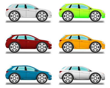 Cartoon car with big wheels, six colors. Vector