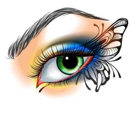 animal eye: Occhio compone con farfalla Vettoriali