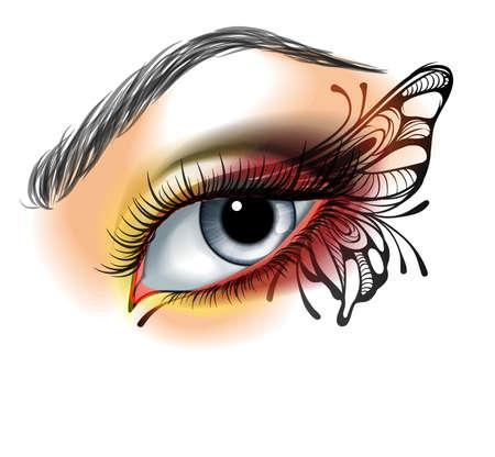 femme papillon: Maquillage pour les yeux avec le papillon Illustration