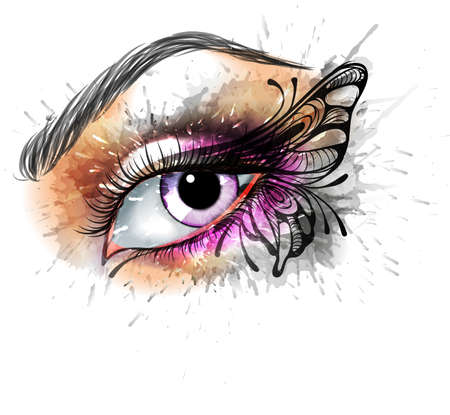 butterfly and women: Eye make up with butterfly Illustration
