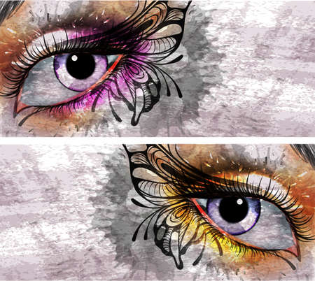 Eye make up with butterfly grunge background Vector