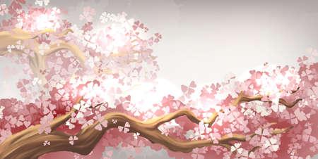 Sakura branch blooming 向量圖像