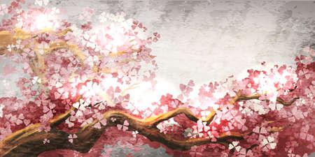Sakura branch blooming Illustration