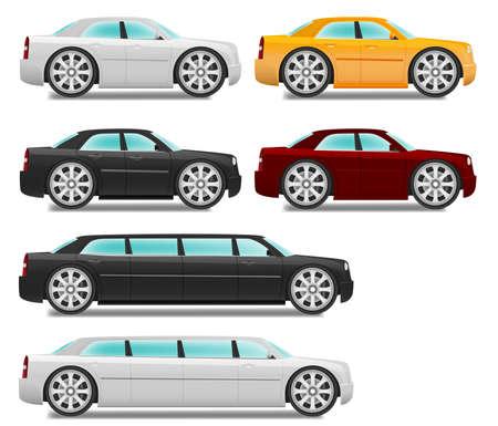 漫画の大きな車輪と車のセダンおよびリムジンを設定  イラスト・ベクター素材