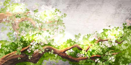 魔法の木の枝  イラスト・ベクター素材