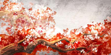 flor de sakura: Sakura rama en flor Vectores