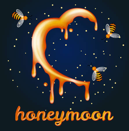 Honey moon concept. Heartshaped halfmoon made of honey Illustration