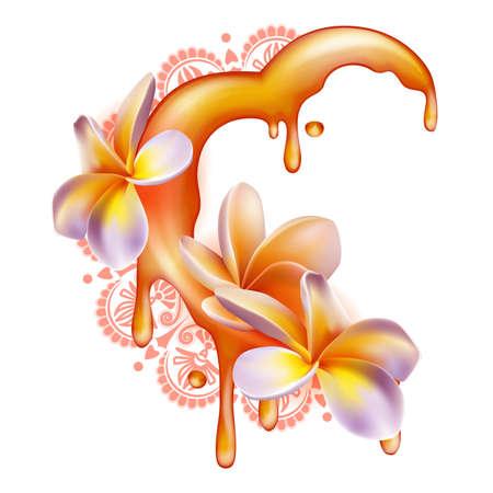honey moon: Honey moon concept. Heartshaped halfmoon made of honey Illustration
