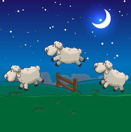 Tres ovejas que saltan sobre la cerca. Cuente a dormir.