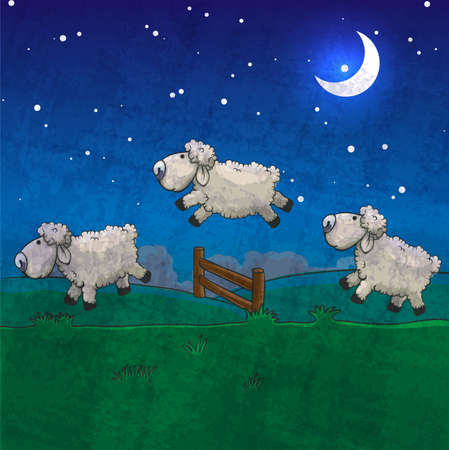 jumping fence: Tres ovejas que saltan sobre la cerca. Cuente a dormir.