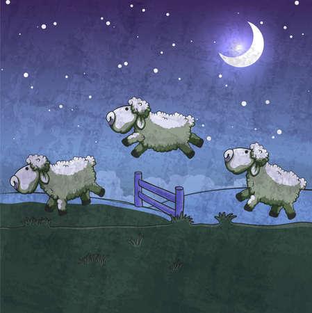 3 つの羊は、フェンスを飛び越えます。スリープ状態にそれらを数えます。  イラスト・ベクター素材