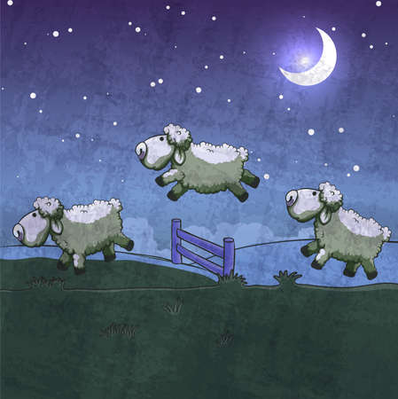 insomnia: Three sheep  jumping over the fence. Count them to sleep. Illustration