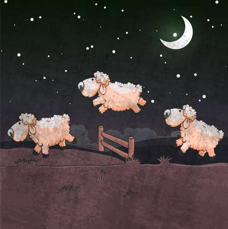 lamb cartoon: Three sheep  jumping over the fence. Count them to sleep. Illustration