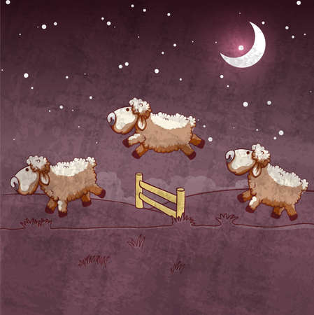 of them: Three sheep  jumping over the fence. Count them to sleep. Illustration