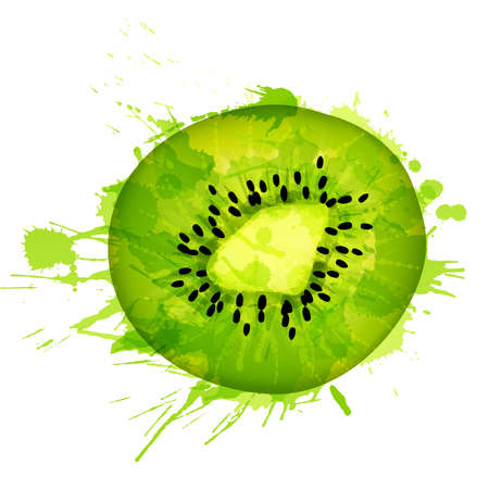 kiwi fruit: Kiwi fruit slice made of colorful splashes on white background