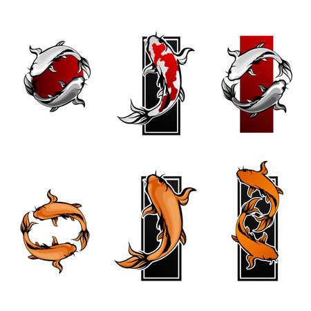 Set di simboli di pesce Koi Vettoriali