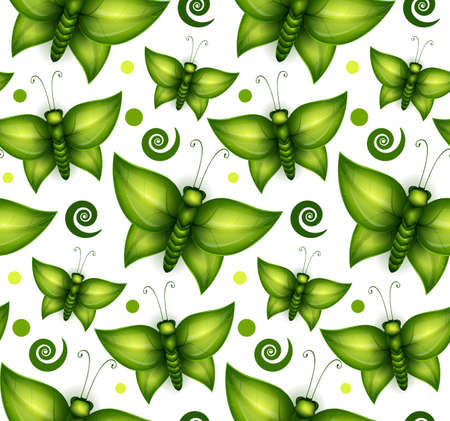Butterfly made of green leaves seamless pattern Vector