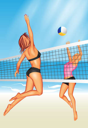Two young women playing beach volleyball 일러스트