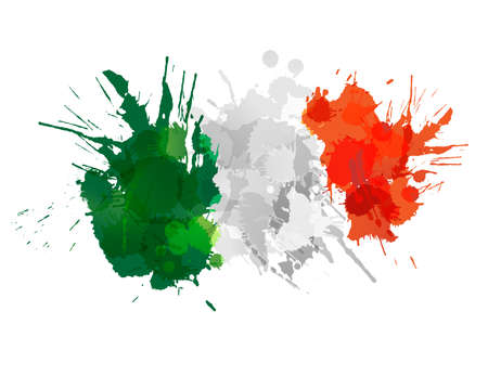Italian  flag made of colorful splashes Çizim