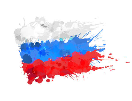 Russian Federation flag made of colorful splashes