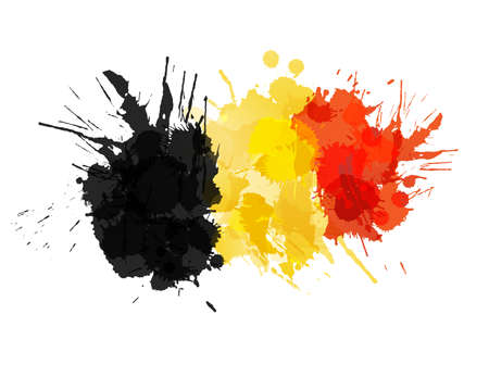 Belgian flag made of colorful splashes Çizim
