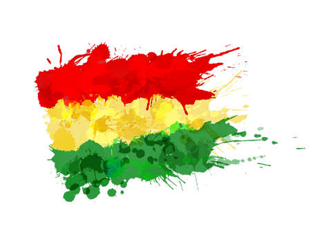 Bolivian flag made of colorful splashes