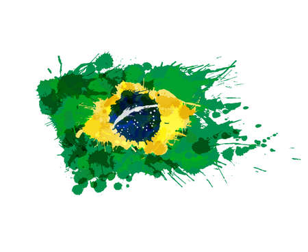 다채로운 스플래시 만든 브라질 국기 일러스트