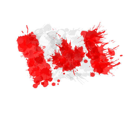 canadian flag: Canadian flag made of colorful splashes