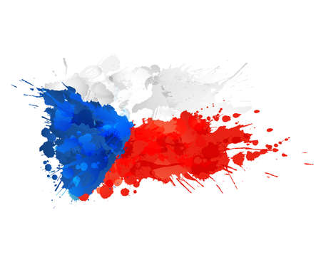 czech flag: Czech republic flag made of colorful splashes