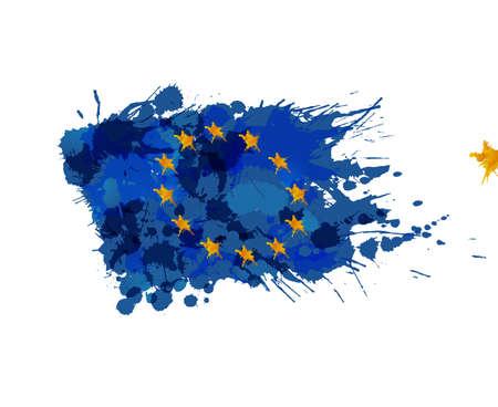 eu flag: European Union flag made of colorful splashes